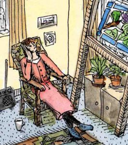 Stained glass artist Rachel Mulligan's watercolour illustration - Contemplation