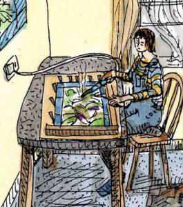 Stained glass artist Rachel Mulligan's watercolour illustration - Soldering