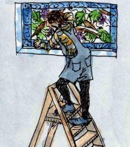 Stained glass artist Rachel Mulligan's watercolour illustration - Installing the window
