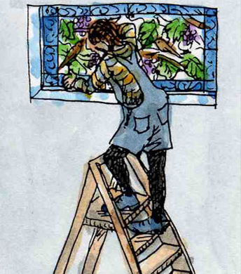 Stained glass artist Rachel Mulligan's watercolour illustration - Installing the window