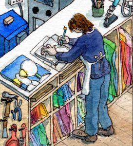 Stained glass artist Rachel Mulligan's watercolour illustration - In the Studio