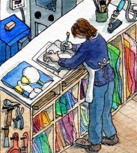 Rachel Mulligan watercolour illustration - Artist in Studio