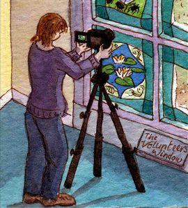 Rachel Mulligan watercolour illustration - Artist Photographing Commission