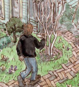 Stained glass artist Rachel Mulligan's watercolour illustration - Walking to Work