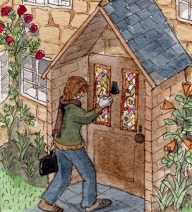 Stained glass artist Rachel Mulligan's watercolour illustration - Visiting a Client