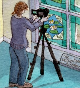 Stained glass artist Rachel Mulligan's watercolour illustration - Photographing a Window