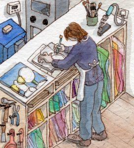 Stained glass artist Rachel Mulligan's watercolour illustration -In the studio