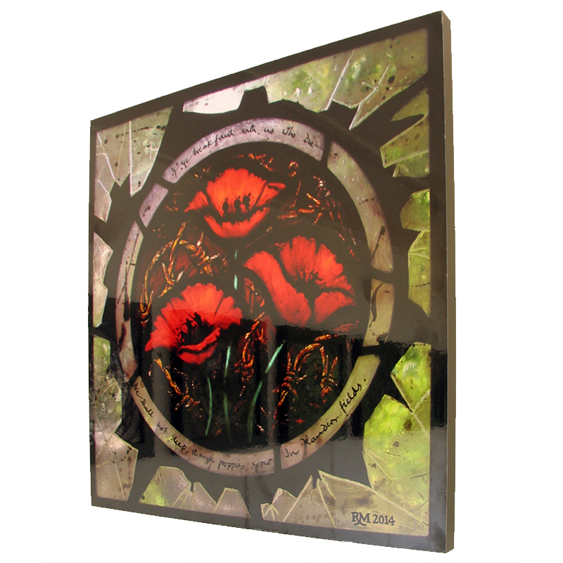 Stained glass artist Rachel Mulligan - Wall Photo of Poppies