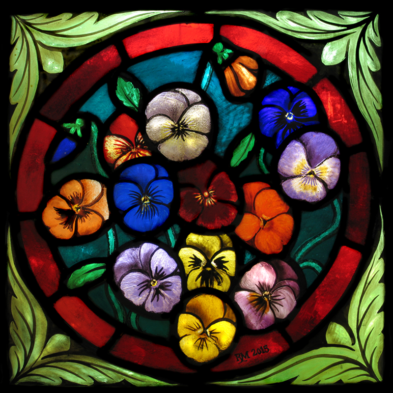 Stained glass artist Rachel Mulligan - Wall Photo Pansies