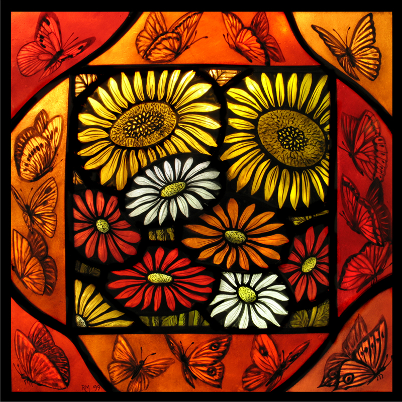 Stained glass artist Rachel Mulligan - Wall Photo Flowers and Butterflies