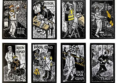 Linocuts of Tinker Tailor 2020